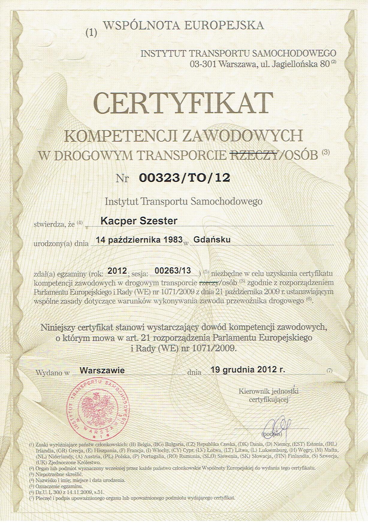 1. Certyfikat